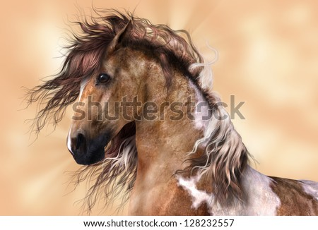 A digital render of a horse, a brown and white paint, with golden brown background. - stock photo