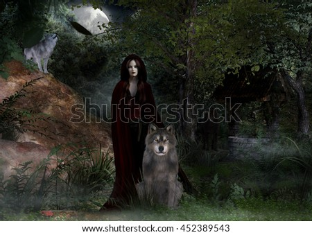 A digital render of a woman wearing a red cloak with three wolves around her in the woods at night. - stock photo