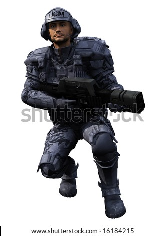 A digital render of an isolated Space Marine Ranger 3, 3d digitally rendered illustration - stock photo