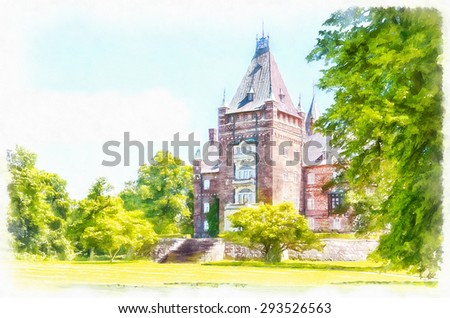 A digital watercolor painting of the historic Trollenas castle situated near to the swedish town of Ekeby. - stock photo