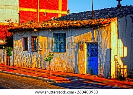 A digitally constructed painting a Turkish village house - stock photo