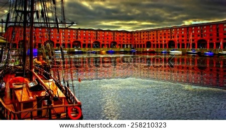 A digitally constructed painting of Albert Dock Liverpool - stock photo