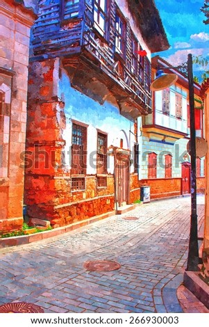 A digitally constructed painting of cobbled back streets of Kaleici in Antalya Turkey - stock photo