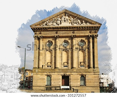 A digitally constructed watercolour of Todmorden Town Hall, Yorkshire, England - stock photo