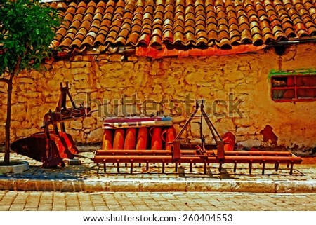 A digitally converted painting of farm machinery in a Turkish village - stock photo
