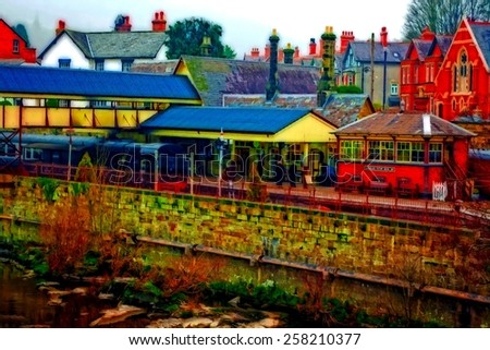 A digitally converted painting of Llangollen railway station North Wales UK - stock photo