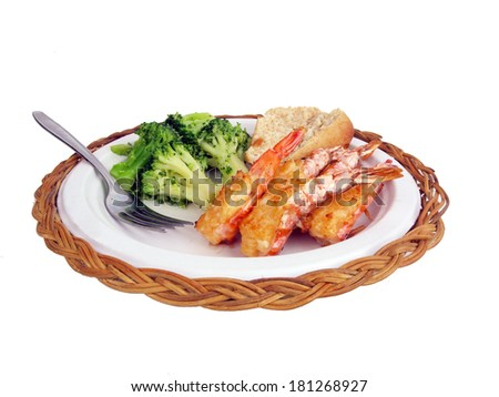 a dinner of shrimp stuffed with crab meat isolated on white background - stock photo