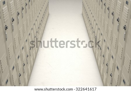 A direct top view of a row of regular school lockers in a corridor - stock photo