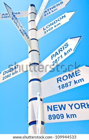 A direction sign giving distance indicators to various world cities.  white on blue. - stock photo