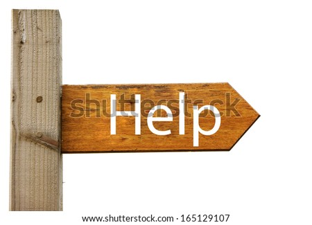 A direction sign with the word 'Help', an analogy for help and assistance - stock photo