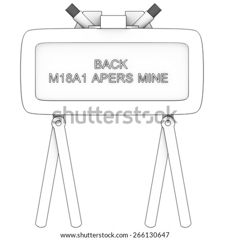 A directional anti-personnel mine used by the U.S. military. Isolated on white background. 3d - stock photo