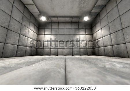 A dirty white padded cell in a mental hospital - stock photo