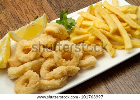 a dish with mixed fried - stock photo