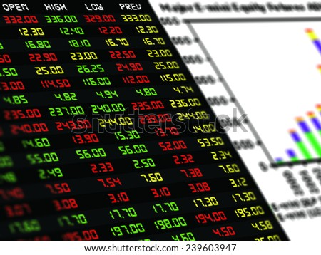 a display of daily stock market price and quotation with a chart of composite mixed bar type, financial instrument - stock photo