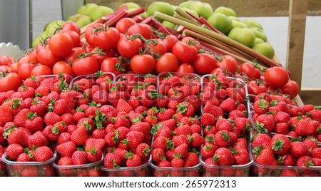 A Display of Freshly Grown Fruit and Vegetables. - stock photo