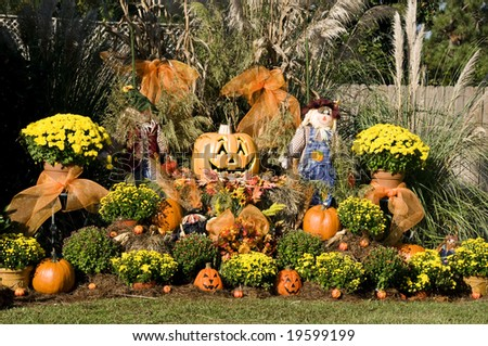 A display of garden and fall items. - stock photo