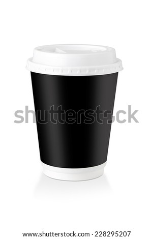 A Disposable Coffee Cup Whit Black Label  Isolated On White Background, Clipping Path Included. - stock photo