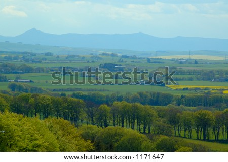 A distant view of the Grampian Mountains - stock photo