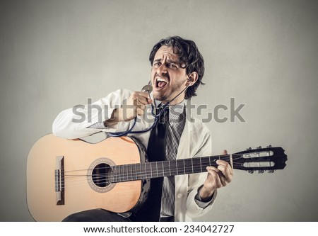 A doctor and a singer  - stock photo