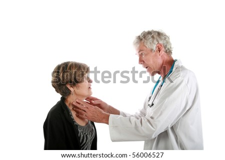 a doctor examines his patient  isolated on white - stock photo