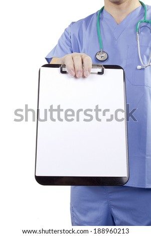 A doctor in blue uniform holding a clipboard. - stock photo