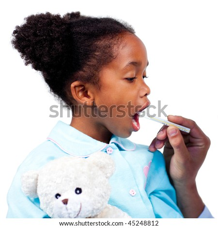 A doctor taking cute little girl's temperature isolated on a white background - stock photo