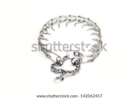 A dog chains isolated on white background - stock photo