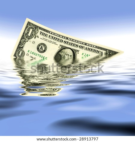 a dollar in the water on blue background - stock photo