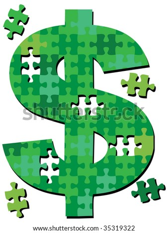 A dollar sign jigsaw puzzle with pieces to symbolize financial money solutions. - stock photo