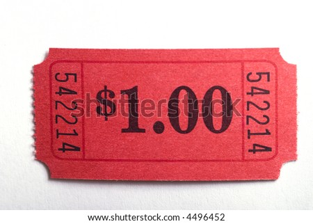 A dollar ticket in closeup on a white background - stock photo