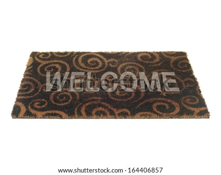 A door mat isolated on a white background - stock photo
