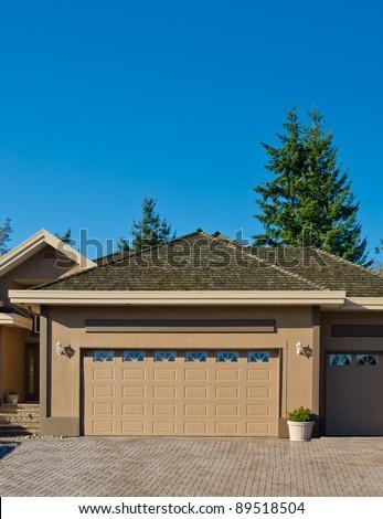 A double garage door - stock photo