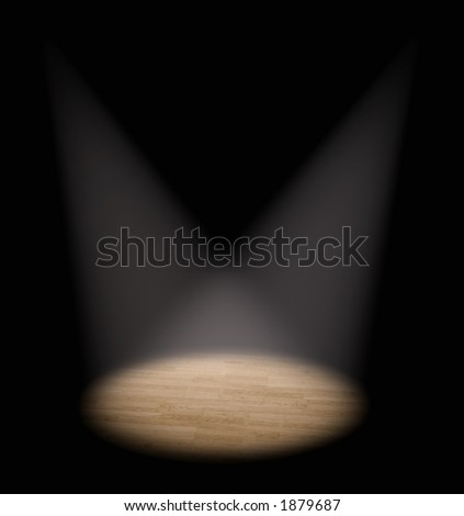 a double spot light on a stage - stock photo