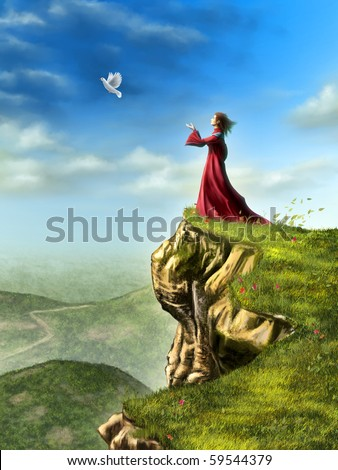 A dove is set free to fly by a woman standing on a cliff. Digital illustration. - stock photo