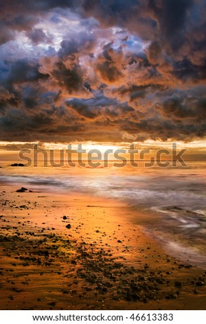A dramatic sunset after a winter storm in Santa Barbara, California. - stock photo