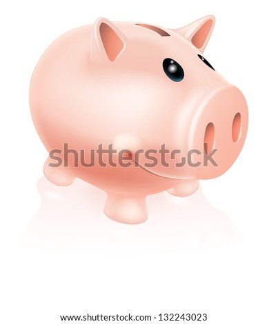 A Drawing of a smiling cartoon piggy bank character - stock photo