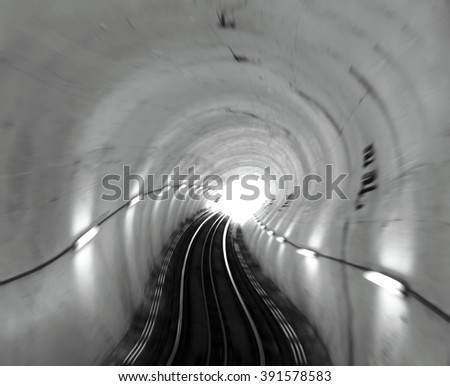 A dreamy hallucination of a twisted railroad tunnel for the concept: taking a psychedelic trip.  - stock photo