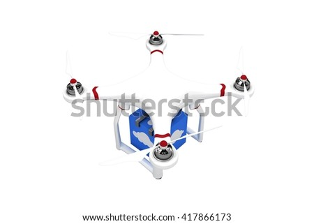 A drone bringing a blue cube on white background - stock photo