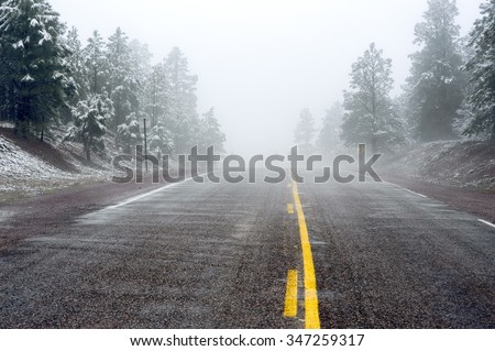 A dusting of the first snow of winter with fog creates a beautiful scene with dangerous driving conditions on a single lane road lined with fir trees. - stock photo