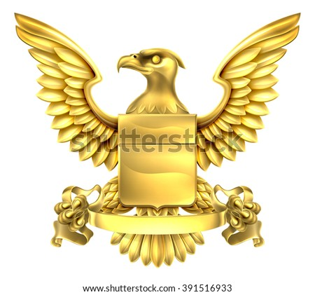 A eagle gold metal shield heraldic heraldry coat of arms design with a banner scroll. - stock photo
