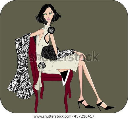 A elegant girl sitting in a dress and shawl design - stock photo