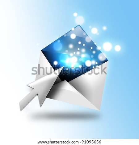 A email letter is opening up with a computer cursor. There are blue sparkles coming out of the envelope. Use it for a communication idea. - stock photo