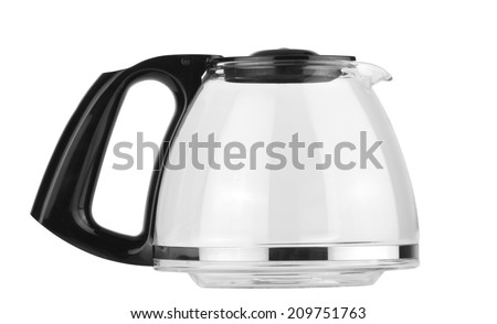a empty coffee pot isolated against a white background - clipping path - stock photo