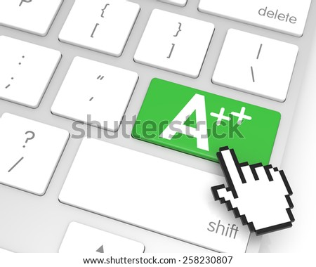 A++ enter key with hand cursor. 3D rendering - stock photo