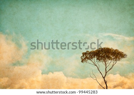 A eucalyptus tree and clouds done in a vintage style.  Image has a pleasing paper texture and grain at 100%. - stock photo
