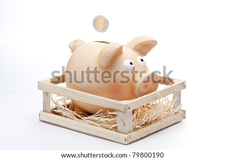 a 2 Euro Coins dropping inside a Pink Piggy Bank on a Box - stock photo