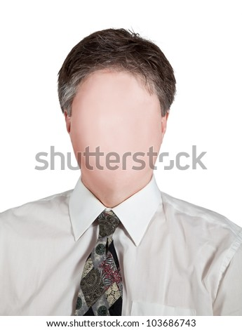 A faceless man shows identity theft as stealing a person's individuality. - stock photo