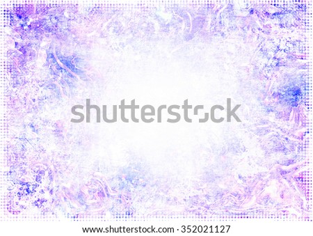 A faded grunge background in shades of pink, purple and blue on white with halftone frame and copy space - stock photo