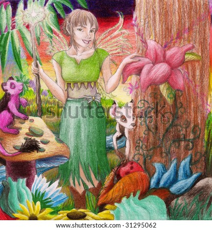 A fairy walks through a garden and a world of untold beauty. - stock photo