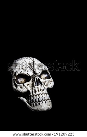 A fake skull is isolated on a black background. - stock photo